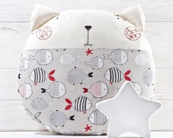 Cat Pillow, Baby Shower Gift, Cat Lover Gift, Floor Cushion, Round Pillow, Gray Nursery Decor, Cat Fish Pillow, Gray Stuffed Cat, Mom Gift