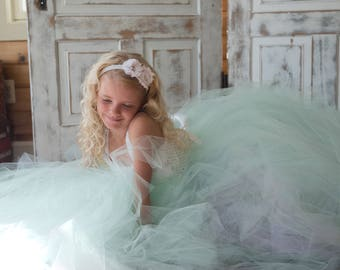 Flower girl dress - Tulle flower girl dress - Mint Dress - Tulle dress-Infant/Toddler - Pageant dress - Princess dress -White flower dress