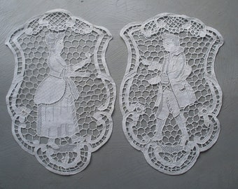 2 antique figural needle lace panels, handmade lace