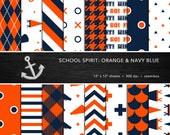 School Spirit Digital Paper Set -- Orange & Navy Blue, School Colors, Pep Rally, Homecoming, Seamless -- Personal or Commercial Use