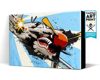 Airplane Decor - P-40 Warhawk - Aviation Art, Canvas Print, WWII vintage Airplane Art, Aviation Decor, Pilot Gift, Pop Art, Airplane Gift