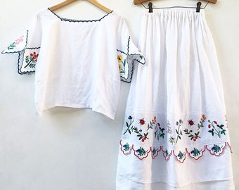 Botanica Embroidered Linen Blouse & Skirt