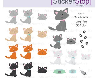 Cute Cats or Kittens, PNG Digital Clipart - Instant download - cats, kittens, kitty, animals, baby animal, flea medication, cat toys