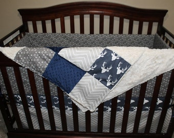 Baby Boy Crib Bedding - Navy Buck, Ecru Chevron, Pebble Weathervanes, and Navy Crib Baby Bedding Ensemble