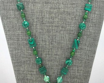 Green crazy lace agate pendant necklace