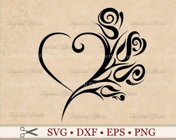 Herz-ROSE SVG-Datei Stammes Herz Svg Png Dfx Eps Herz