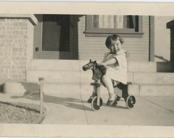 vintage photo 1924 Little Girl Rides Horse Tricycle Wooden Toy