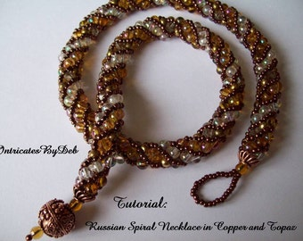 Pattern Beaded Russian Spiral Necklace Jewelry Tutorial in Copper and Topaz - Beading, Beadweaving Instructions, PDF, Do It Yourself, How To