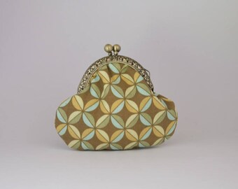 Retro purse cotton printed geometric Brown, green