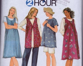 Simplicity 7309, Size X Small, Small, Medium, Misses' Maternity Tunic, Jumper, Vest, Pants and Shorts Pattern, UNCUT, Easy 2 Hour Pattern
