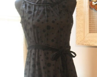Vintage 80's Sandra Darren Chiffon and Velvet Polka Dot Dress Black Size 6 P .. Hostess Dress