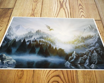 Skyrim mountains landscape painting photo print