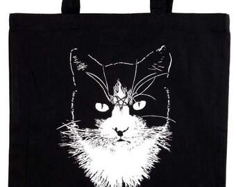 Cat Metal black tote bag