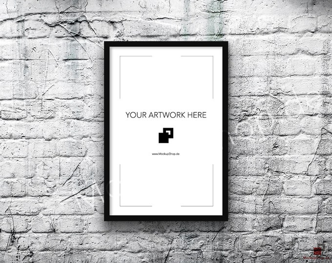 8x12 Vertical WHITE FRAME MOCKUP, old White Brick Background, Styled Photography Poster Mockup, Framed Art, Instant Download, Black Frame