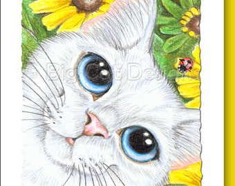 CAT CARD. Spring Kitty. Big Eye White Cat with Yellow Daisies. Cat Greeting Card.  5X7 Framable Card.