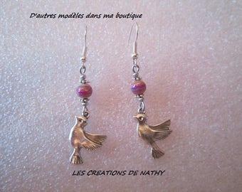 Silver-plated bead graffiti bird charm earring