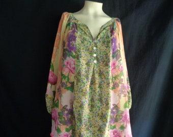 Vintage blouse XL chiffon flowers multi colors long sleeves