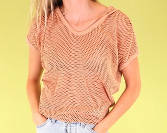 Coolest mauve Alternative Apparel loose knit top with hood SIZE S