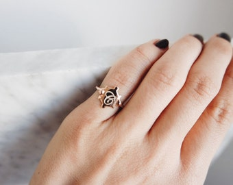Little finger ring with a letter-sterling silver- -FREE SHIPPING