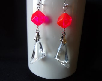 Mod Earrings with Clear Acrylic Drop and Dayglo Beads