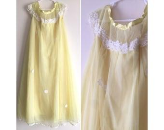60s girls nightgown yellow chiffon daisy patches long nightie sleepwear for kids size 12 1960s childs nightgown spring summer sleepwear