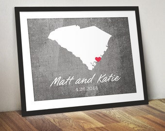 Custom Engagement, Anniversary or Wedding State Print - Personalized Gift Featuring Any City or State