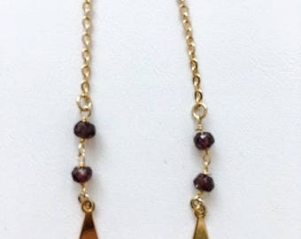 Earrings plated gold with beaded chain