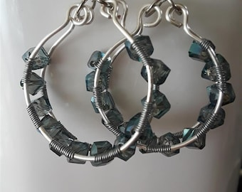Wide Hoop Earrings with Blue-Gray Faceted Beads Between