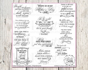 A Godly Mother Digital Word Art - KJV Scripture Verses - Mother's Day Word Art for cards and scrapbooking - Photo Overlays - Mother Quotes