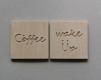Coasters Wooden, Set of two, Gift idea, Wedding gift, Coffee lover, Wood in Handmade, Wake up, Smile, Drinks, Interior, Decoration items