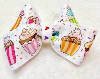Girly Cupcake Sprinkle Hair Bow