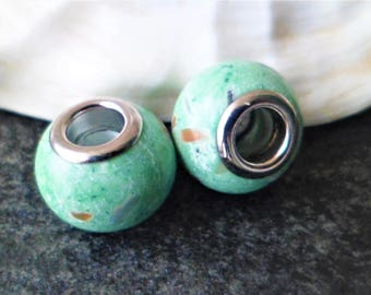 2 Charms Howlite natural green 14 x 10 mm beads with large hole 5 mm for Bracelets European thickness 3 mm snake leather, stiff