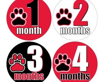 12 Monthly Baby Milestone Waterproof Glossy Stickers - UGA Georgia Dawgs - Design M026-02