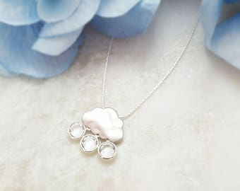 Rain Cloud Necklace Silver - Raindrop Necklace - Raincloud Necklace Rain Drop - Rain Necklace - Rain Jewelry Raindrop Weather Jewelry N1251