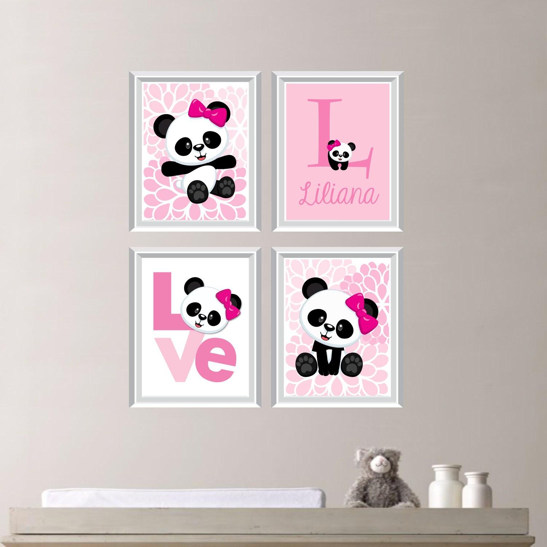 Baby Girl Nursery Art Print Panda Bear Nursery Prints