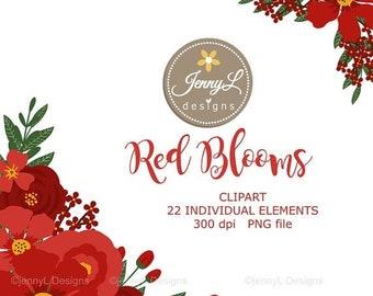 50% OFF Red Flower Clipart, Wedding Flowers, Flower, Floral Arrangement for digital Scrapbooking, Wedding, Birthday Invit