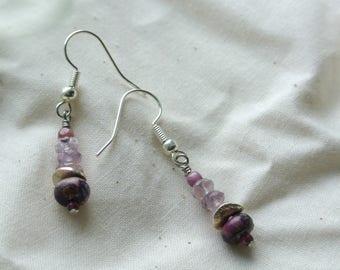 Amethyst, Tourmaline, Garnet and Stone Purple and Lavender Earrings 013