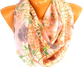 Flowered Scarf, Shawl, Chiffon Scarf, Womens Fashion Accessories, Lightweight Summer Scarf, Flowers printed Scarf, Gifts for Mothers day