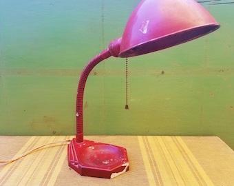 1940's Working Vintage Red Chippy Industrial Gooseneck Lamp
