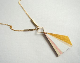 Polygon Necklace, Wood Geometric Necklace, Hand Painted  Wood Necklace,Geometric Jewelry