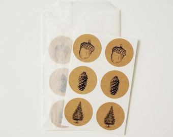Woodland Envelope Seal Stickers - Pine Tree, Acorn, Pine Cone, Brown Kraft Label Seals, Holiday Card Envelope Seals, Christmas Tree Stickers