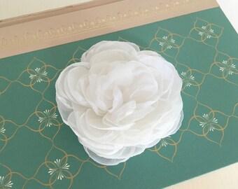 "White Flower Hair Clip.Wedding Hair Piece.Bridal Headpiece.Fabric Flower Brooch.Peony Hair Clip.White fascinator.white bridal hair pin. 3"" +"