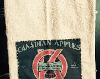Canadian apple box label Burton BC 100% cotton flour sack tea towels