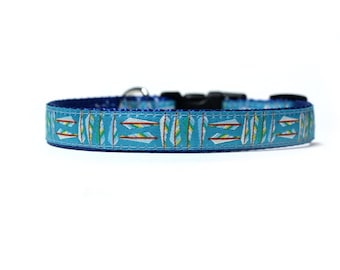 5/8 or 3/4 Inch Wide Dog Collar with Adjustable Buckle or Martingale in Feathered