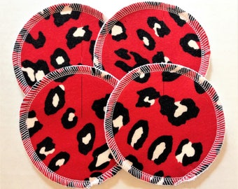 2 Pairs of Cloth Nursing Pads - Red and Black Leopard Cat