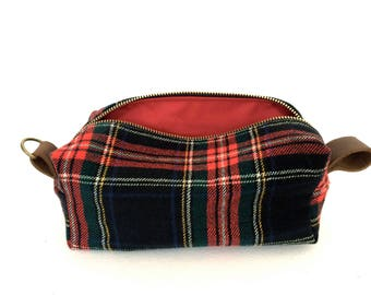 "Medium Toiletry Bag from Vintage Stewart Plaid Suit with Leather - ""The Ralph"""