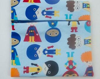 superhero kids reusable sandwich/snack bag