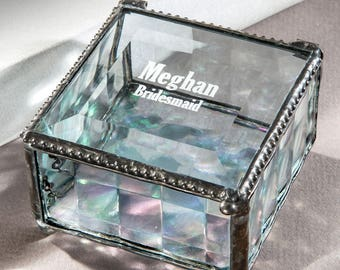 Bridesmaid Gift Personalized Jewelry Keepsake Box Maid of Honor Mother of the Bride Flower Girl Vintage Stained Glass Box 333 EB 219-2