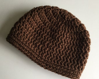 Brown baby hat,   Beanie, Cocoa Brown Boy or Girl Cap, 0 to 3 months,  baby hat ,   infant hat, select a size
