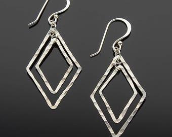 Handmade Hammered Double Diamond Earrings